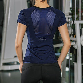Women Summer T Shirts Slim Fit For Sports Fitness Yoga Short Sleeve Yoga Top Mesh Womens Gym Shirt
