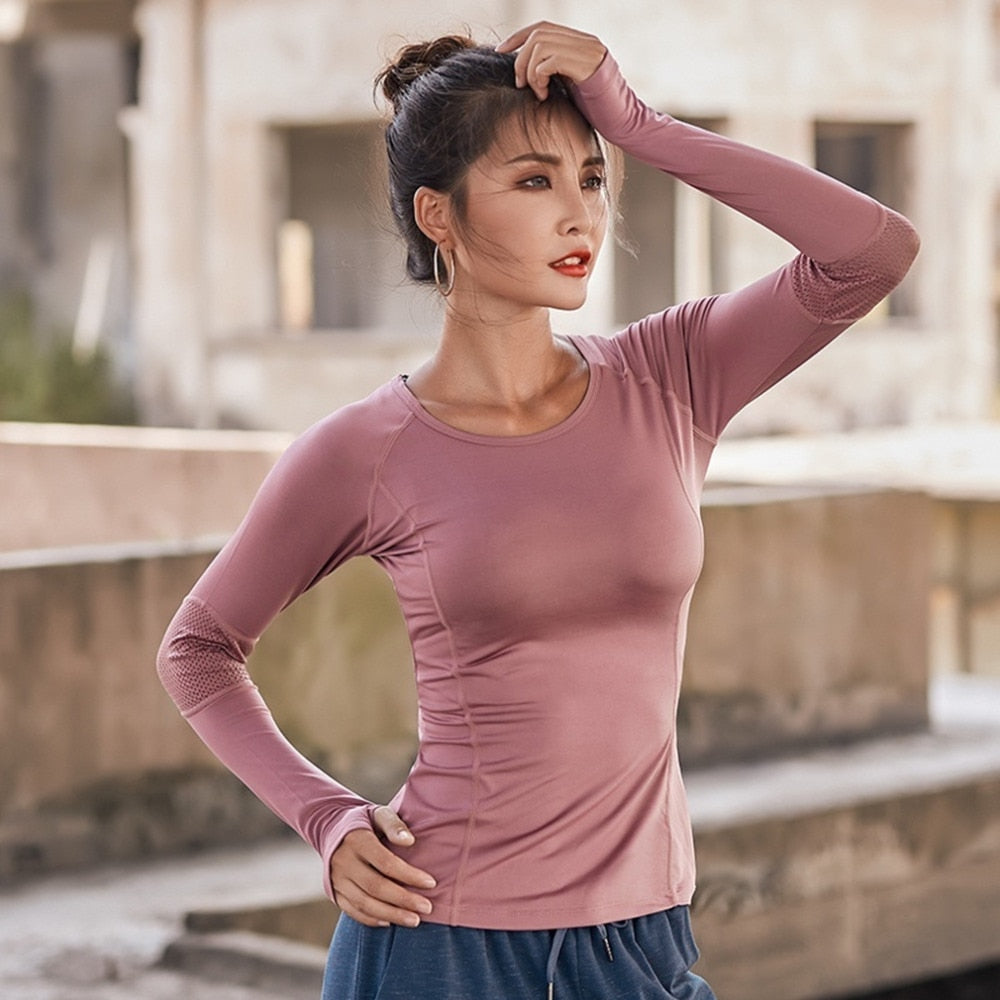 Women's Sports Wear For Fitness Running Jogging Seamless Long Sleeve Gym Woman Sport Shirt Yoga