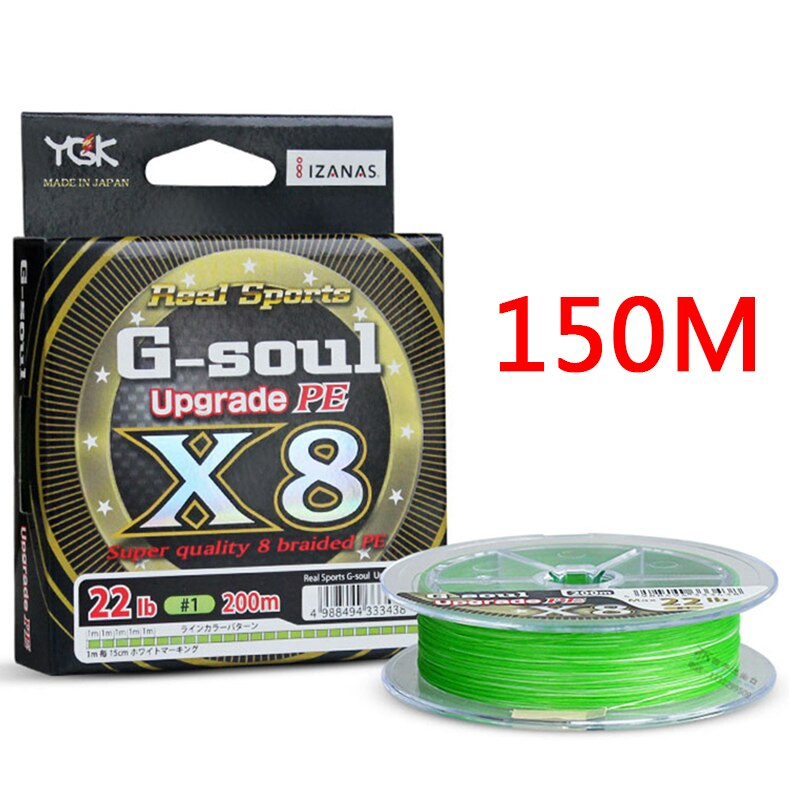 YGK G-SOUL X8 Upgrade Braid Fishing Line 150M 200M Super Strong 8 Strands Multifilament PE line