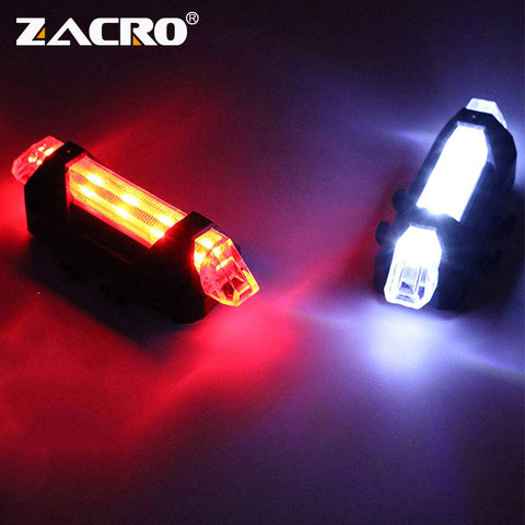 Zacro Bike Bicycle light LED Taillight Rear Tail Safety Warning Cycling Portable Light, USB Style