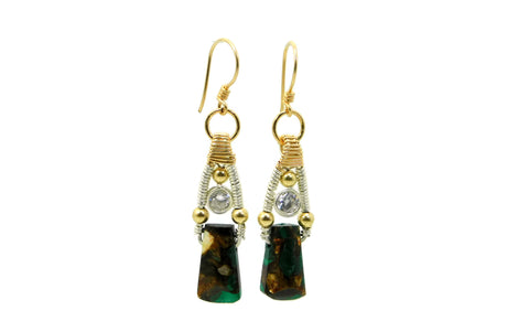 Malachite & Bronzite Bliss Earrings with Herkimer Diamonds in 14kt gold fill and sterling silver