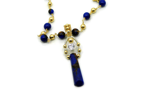 Lapis & Bronzite Bliss Ladder Pendant with Herkimer Diamonds in 14kt gold fill and sterling silver