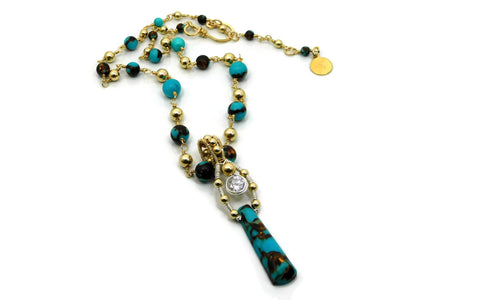Turquoise & Bronzite Bliss Ladder Pendant with Herkimer Diamonds in 14kt gold fill and sterling silver