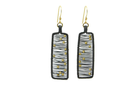 Hand wrapped cold fusion oxidized sterling silver, 14kt gold fill earrings