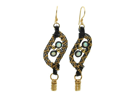 Hand wrapped cold fusion oxidized sterling silver, 14kt gold fill and opal earrings