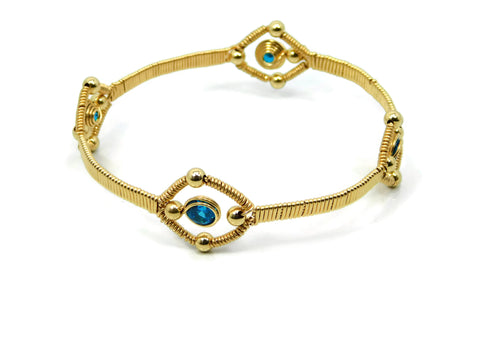 14kt Gold Fill Quad Gem Bangle Bracelet