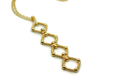 14kt Gold Fill Quad Profile Pendant