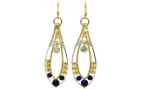 Lapis & Bronzite Joy Earrings with Herkimer Diamonds in 14kt gold fill and sterling silver
