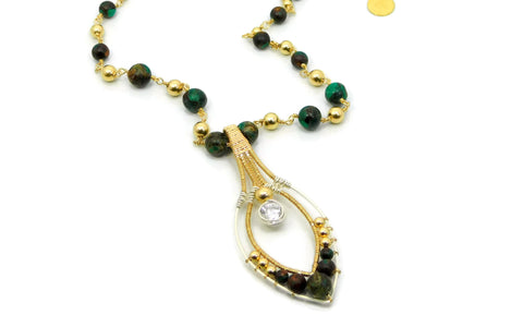 Malachite & Bronzite Joy Pendant with Herkimer Diamonds in 14kt gold fill and sterling silver