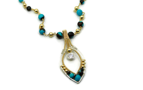 Turquoise & Bronzite Joy Pendant with Herkimer Diamonds in 14kt gold fill and sterling silver