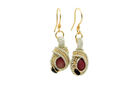 Rhodonite and Black Onyx earrings in sterling silver and 14kt gold fil