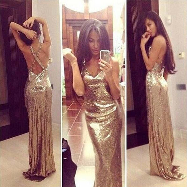 Sexy Cross Back Prom Dress, Sleeveless Sequins Prom Dress, Floor Length Prom Dress, Party Prom Dress, VB069 - Visionbridal