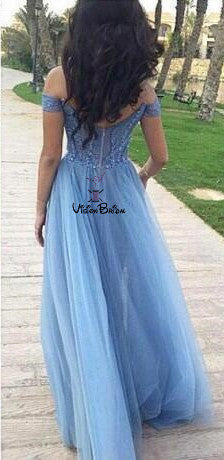 Unique Blue Off Shoulder Long A-Line Tulle Prom Dresses With Lace Appliques, Prom Dresses, VB01409