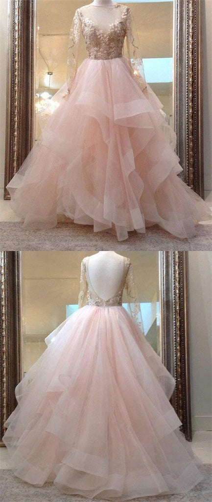 Gorgeous See Through Tulle With Appliques Long Sleeves Prom Dresses, Layered Organza Prom Dresses, VB01283