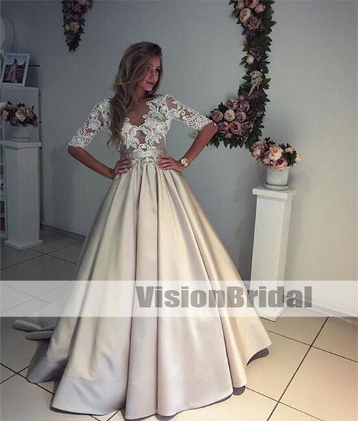 Unique Champagne A-Line V-Neck Half-Sleeves Lace Top Satin Wedding Dress,Long Covered Button Bridal Gown,unique bridal gown, Charming Wedding Dresses, VB0925