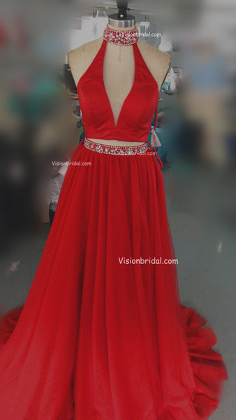 Red Halter V-neck With Beaded Two Pieces Prom Dress, Floor Length Side Slit Tulle Prom Dress, Prom Dresses, VB0238