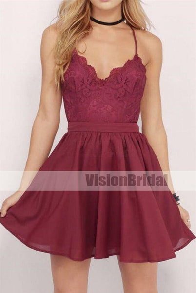 Sexy And Lovely Spaghetti Straps Crisscross Back Lace A-Line Homecoming Dresses, Charming Homecoming Prom Gown, Homecoming Dresses, VB0868
