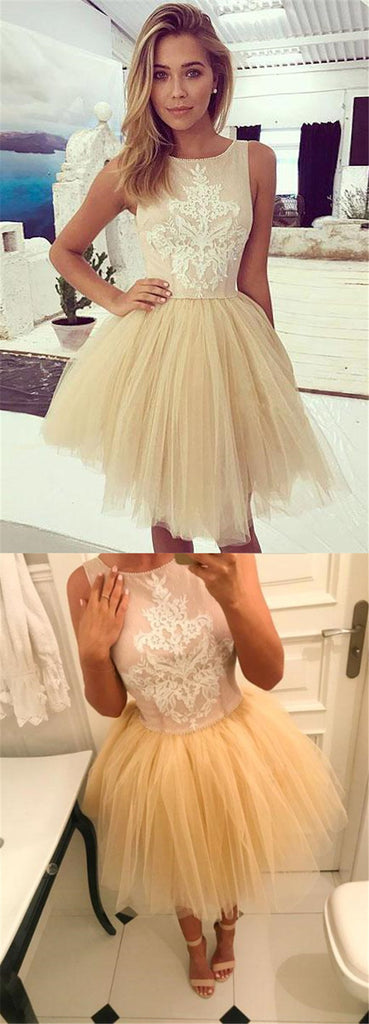 Lovely A-Line Tulle Homecoming Dress With Lace,Short Prom Dress For Teens, VB01039