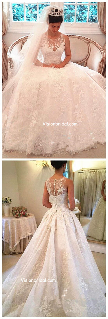 Luxury Illusion Princess Shinny Lace Wedding Dresses, With Covered Button A-Line Wedding Dresses With Trailing, VB01044
