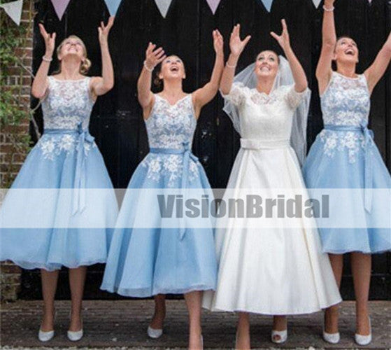 Blue Beautiful Scoop Neckline A-Line Bridesmaid Dresses, Bridesmaid Dresses With Lace Appliques, Bridesmaid Dresses With Sash, Bridesmaid Dresses, VB0861