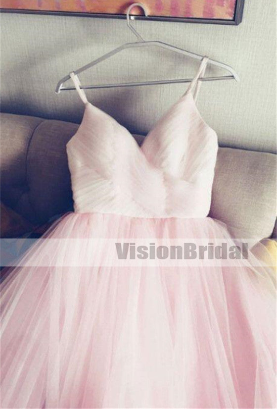 Beautiful And Simple Pink Spaghetti Straps Pleated A-Line Tulle Prom Dress, Unique V-Neck Long Prom Dresses, VB0927