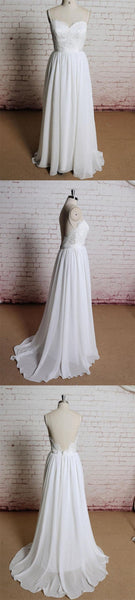 Simple Backless Lace Spaghetti Straps Cheap Beach Wedding Dresses Online, Wedding Dress, VB0652