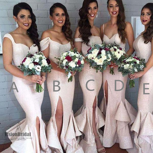 Beautiful Shinny Mismatched Mermaid Side Slit Bridesmaid Dress With Ruffles, Bridesmaid Dresses, VB0457