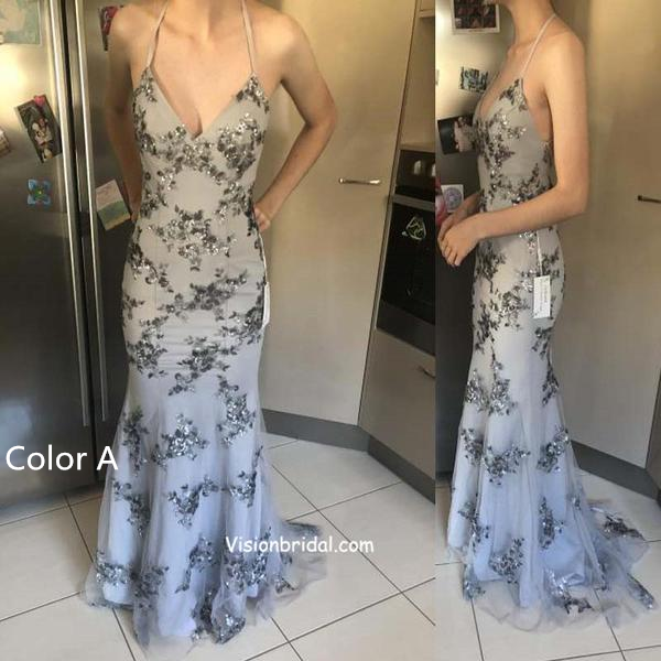 Grey Spaghetti Straps Lace Up Prom Dress, Sexy Mermaid Prom Dress, Party Dress, Prom Dresses, VB0240