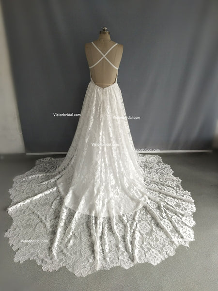 White Halter Open Back Lace Tulle Side Slit With Trailing Wedding Dress, Charming Wedding Dress, Wedding Dresses, VB0350