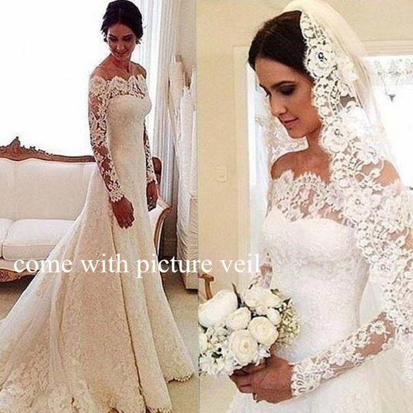 Beautiful Off The Shoulder Long Sleeve Lace Wedding Dress With Trailing, Wedding Dress, VB0691
