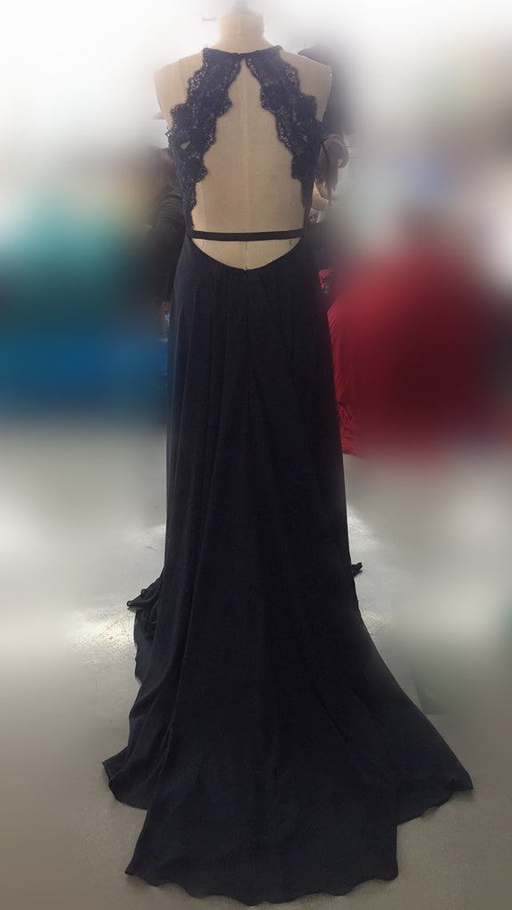 Unique Halter V-Neck Open Back Long A-Line Prom Dresses With Lace, Sexy Side Slit Prom Dresses, VB01215