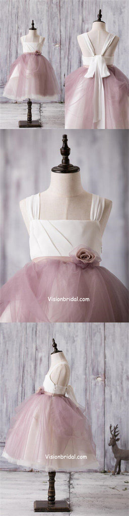 Beautiful V-Back Regular Straps A-Line Dusty Pink Tulle Flower Girl Dresses With Hand-made Flowers, VB01031
