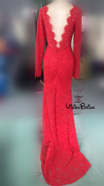 Red Scoop Neckline Lace Prom Dress, Charming mermaid Long Sleeves Open Back Long Prom Dress, Prom Dresses, VB0253