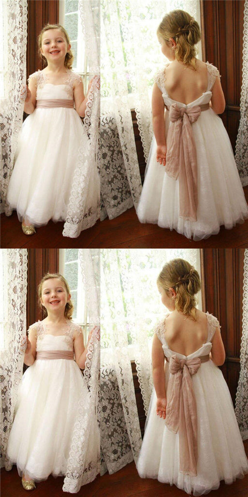 Special Cap Sleeve Open Back Lace Flower Girl Dresses With Lace Straps, Flower Girl Dresses With Sash, VB01032