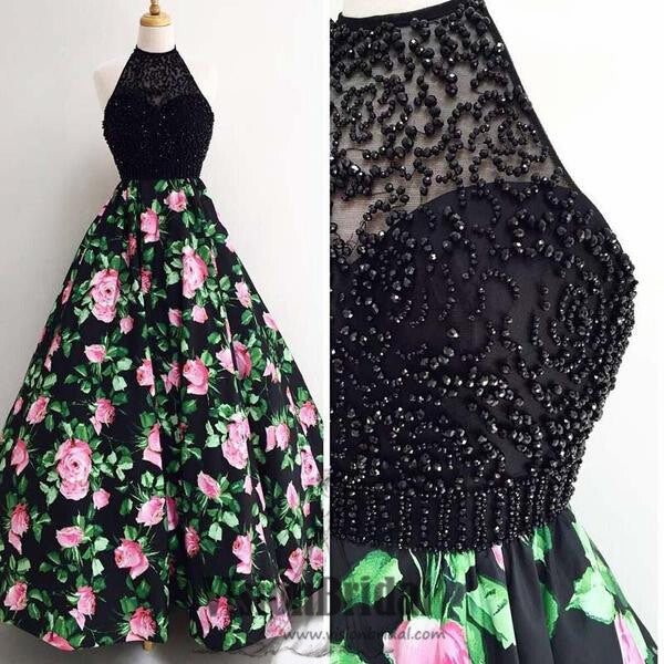Black Halter With Beaded Floral A-Line Long Prom Dress, Charming Prom Dress, Prom Dresses, VB0281 - Visionbridal