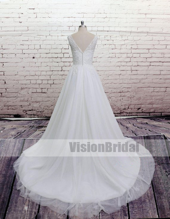 Simple Scoop Neckline Top Lace Covered Button V-Back A-Line Long Wedding Dresses, Cheap Wedding Dresses, VB0687
