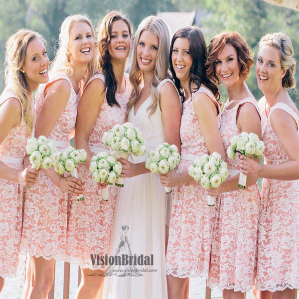2018 Pink Beautiful Scoop Neckline With White Lace Embroidery Short Bridesmaid Dress, Bridesmaid Dress, VB0443 - Visionbridal