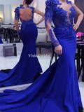 Elegant Royal Blue See Through With Appliques Mermaid Prom Dresses With Trailing, VB03579