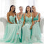 Mismatched Mint Chiffon Different Styles Junior Simple A Line Formal Floor-length Bridesmaid Dresses, VB0120 - Visionbridal