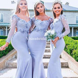 Alluring Blue Mermaid With Appliques Bridesmaid Dresses, VB02814