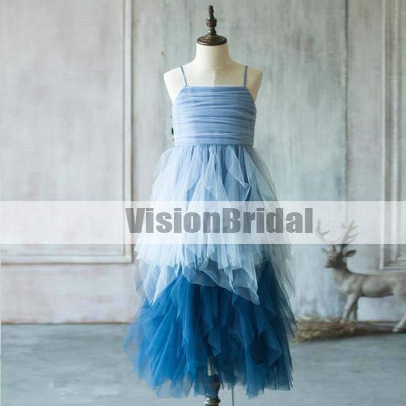Unique Spaghetti Straps Blue Layered Tulle Flower Girl Dresses, Unique Pleating Zipper Up Flower Girl Dresses, VB0951