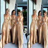 Regular Straps Deep V-Neck A-Line Long Chiffon Bridesmaid Dress, Sexy Side Slit Bridesmaid Dress, VB0494 - Visionbridal