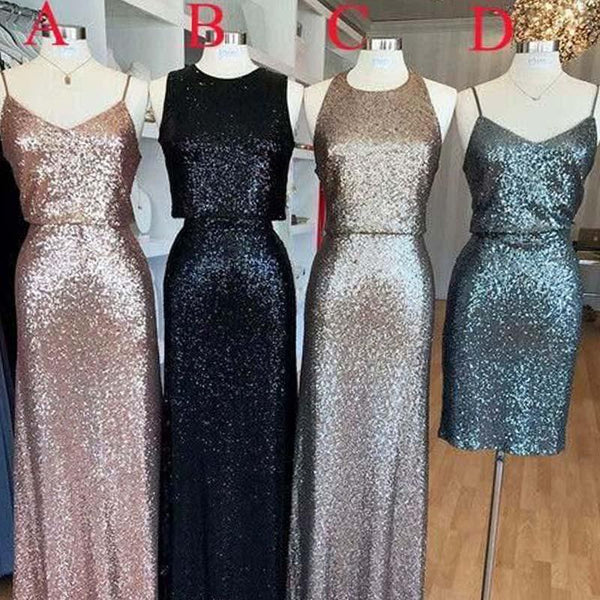 2018 Affordable Mismatched Sequin Long Bridesmaid Dresses, Affordable Unique Custom Long Bridesmaid Dresses, VB0378 - Visionbridal