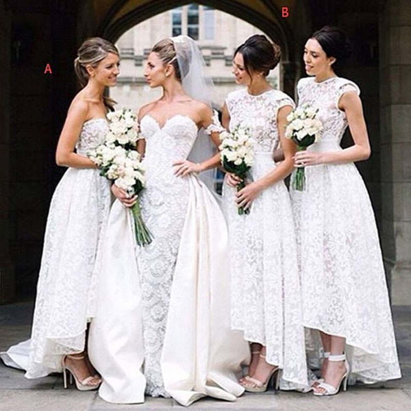 2018 Beautiful Simple Mismatched White Lace Tulle High Low Bridesmaid Dress, VB0341 - Visionbridal