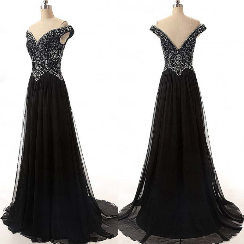 Black Off The Shoulder Rhinestone Chiffon A-Line Floor Length Prom Dress, Attracting Prom Dress, Prom Dresses, VB0295 - Visionbridal