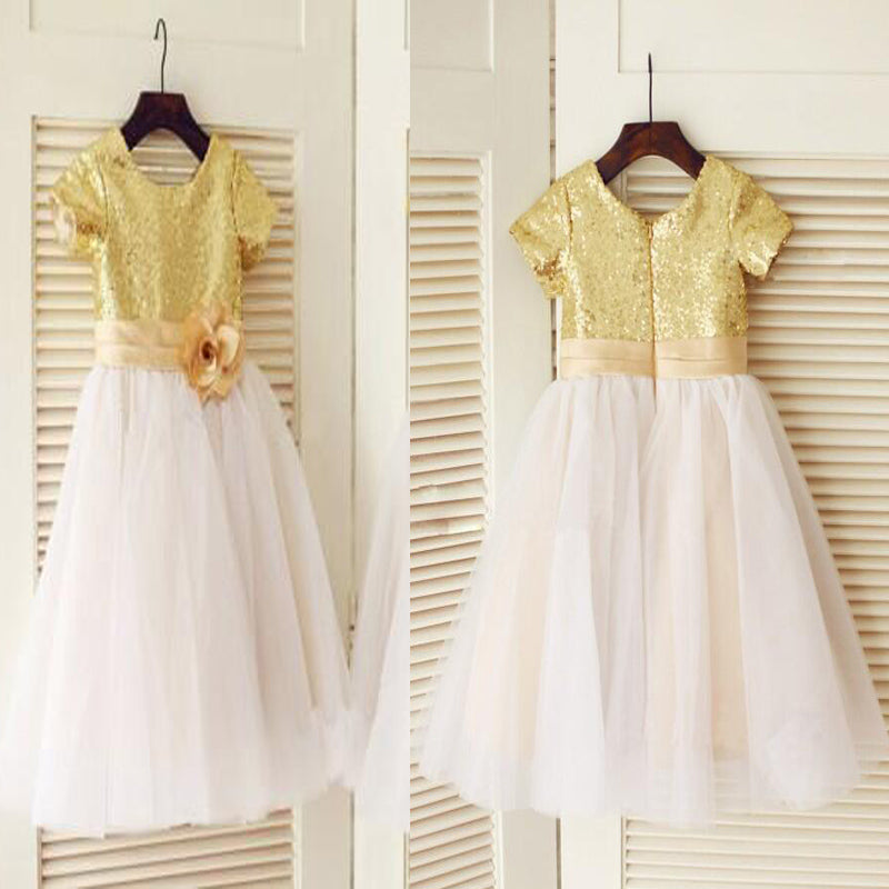 Sparkly Top Gold Sequin A-Line Tulle Flower Girl Dresses With Embellished Sash, Cute Little Girl Dresses, VB01186