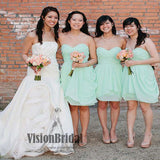 Best Sale Simple Sweetheart Pleating Short A-Line Bridesmaid Dress, Charming Bridesmaid Dress, VB0516 - Visionbridal