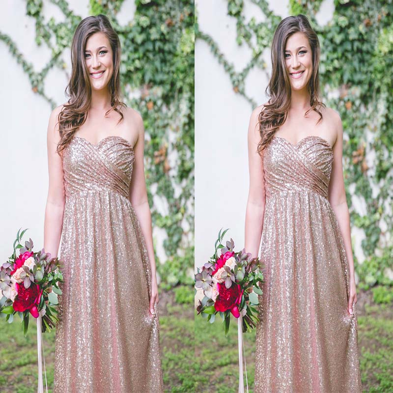2018 Newest Sweetheart Sequin Pleating A-Line Floor-Length Bridesmaid Dress, Charming And Modest Bridesmaid Dress, VB0329 - Visionbridal
