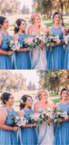 Charming Halter Lace Top Blue Long A-Line Tulle Bridesmaid Dresses, Bridesmaid  Dresses, VB02407