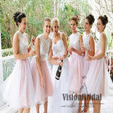 Hot Sale Beautiful High Neck Top Lace A-Line Tulle Short Bridesmaid Dress, Bridesmaid Dress, VB0504 - Visionbridal